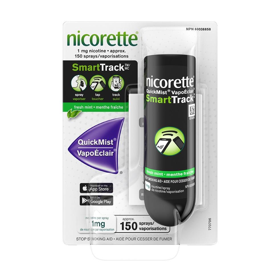 Emballage du vaporisateur buccal à la nicotine Nicorette VapoÉclair SmartTrack, 150 vaporisations