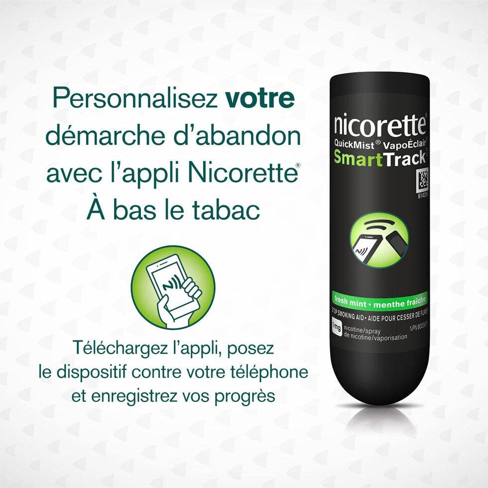 Vaporisateur buccal à la nicotine Nicorette VapoÉclair avec instructions pour télécharger l'appli SmartTrack sur le téléphone
